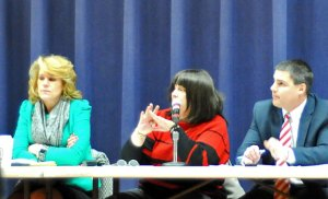 Board of Finance Chairwoman Diane Scinto, center, answers a question about the long-term school facility plan while Deputy Mayor Tamath Rossi, left, and Mayor Robert Mezzo look on Tuesday at City Hill Middle School. –LUKE MARSHALL