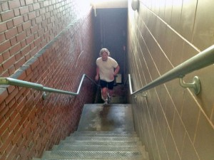 Naugatuck Firefighter Tim Andrew climbs stairs in preparation for the Empire State Building run on Feb. 5. He has run the race 17 times to raise money for charity. –RA ARCHIVE