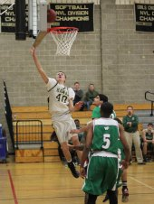 Woodland's Eric Buetel (40) lays in a basket off the glass Jan. 17 versus Wilby in Beacon Falls. Wilby held on to defeat Woodland, 53-52. –ELIO GUGLIOTTI
