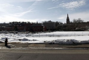 Naugatuck officials say there have been ongoing discussions with developers interested in building on Parcel C, a vacant piece of land located on the corner of Maple and Water streets in downtown Naugatuck. –RA ARCHIVE