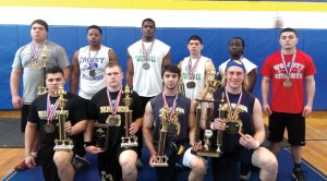 Woodland's Josh Collet and Levi Fancher (front row, first two from left) made the All-NVL weightlifting team by winning their weight classes at Saturday's competition at Seymour High. Collet won the 181-200-pound class while Fancher defended his title in the 201-220-pound class. Fancher also earned the meet's Most Valuable Lifter honor. Woodland finished second as a team, while Naugatuck placed ninth. –KYLE BRENNAN
