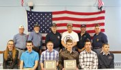 Veterans from the American Legion Post 17 and Veterans of Foreign Wars Post 1946 in Naugatuck recognized Naugatuck High School students April 2 at the Legion for their work in running a ziti dinner to benefit the two organizations. NHS juniors Gregory Marquardt and Ryan Russett organized the dinner for their civic action project for their civics class. The dinner raised $2,600, which will be split evenly between the American Legion and VFW to benefit veterans' activities. Pictured, front row from left, NHS students Brianna Prentice, Noah Wood, Russett, Marquardt, Alex Rodrigues and Paul Marquardt. Back row from left, 2nd District Commander for the American Legion Ron Fischer, Post 17 Commander Tom Honyotski, veterans Bob Genovese, Phil Arcuri, Frank Edmonds and Mike DeVivo. Not pictured, NHS students Alex Triscritti and Anthony Conner and volunteer cook John Padilla. -ELIO GUGLIOTTI