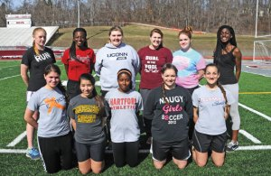 Naugatuck High seniors, front row from left, Katarina Gullotta, Caitlyn Colella, Regina Roper, Christina Batista, Alexandra Hernandez, back row from left, Madison Beasley, Jendaya T. Bell, Alyssa San Angelo, Daisy Walsh, Casey Powers and Faith Okifo are among the class of seniors for the track team that will lead the Greyhounds this season. –LUKE MARSHALL