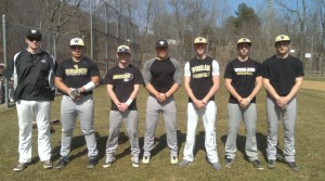 Woodland seniors, from left, Mike Conway, Josh Collet, Mike Gondola, Chris Slavin, Tanner Kingsley, Anthony D'Agnone and Everett Miner will lead the hawks on the diamond this season. –KYLE BRENNAN