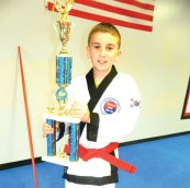 Jack Schwarz of Beacon Falls won second place honors at a Cheezic Tang Soo Do Karate Tournament April 13 at the Waterbury Athletic Center. –CONTRIBUTED