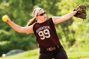 Naugatuck's Jenna Miller pitches against Holy Cross Tuesday in Waterbury. –RA ARCHIVE