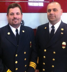 Beacon Hose Company No. 1 First Assistant Fire Chief Brian DeGeorge, left, and Fire Chief James Trzaski were recently installed in their positions. –PATRICK BURSEY
