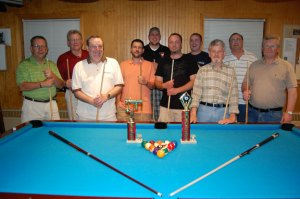 The Polish Falcons from Naugatuck Nest No. 65 (in no order) John Lounsbury, Bruce Kirk, Lucas Hehl, Steve Russell, Dave Howell, Brian Howard, Francis Gagnon, Dennis Cottrell, Mike Schmitt and Al Terry won their third billiards state championship in seven years.  -KEN MORSE