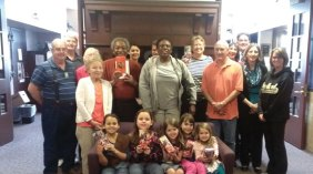 Girls Scouts from Naugatuck Troop 64518 recently donated their left over cookies to the Multiple Myeloma Support Group, which meets every second Tuesday at The Leever Center in Waterbury. –CONTRIBUTED