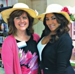 Veronica Rinaldi, community liaison of All About You Home Care Services in Naugatuck, and Rachel Ciarello, director of admissions and marketing of Middlebury Convalescent, model their hats during the Naugatuck Senior Center's Kentucky Derby Day May 2. –CONTRIBUTED