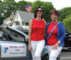 Naugatuck YMCA Member of the Year Louise Myers, right, and YMCA CEO Susan Talbot pose for a picture prior to Naugatuck's Memorial Day parade May 26. Myers was voted member of the year and rode with Talbot during the parade. –CONTRIBUTED
