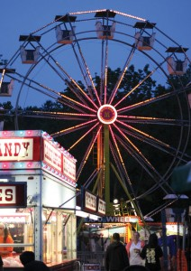 The Ferris wheel is lit up during the 2013 Beacon Hose Company No. 1 Firemen's Carnival. This year's carnival begins Thursday. –FILE PHOTO