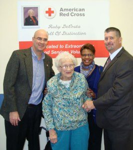 This 2012 photo shows Ruby DeCosta being honored by the American Red Cross for her longtime volunteer services. A blood drive in her name Friday and Saturday will honor her. –CONTRIBUTED