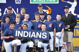 The Peter J. Foley Little League Indians won the league championship after a red-hot run in the playoffs. Pictured (front row from left) Mason Audi, Tommy Ayash, John Braziel (middle row from left) Justice Rivera, Mason Bedard, Cody Ile, Brayden Alves, Ben Kloc, Tyler Blend, Kevin Healy, Nate Delaney (back row from left) coach Bobby Allen, Stephan Bergeron, coach Pete Ernsky, and coach Chip Delaney. –CONTRIBUTED