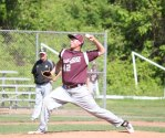 Naugatuck's Spencer Dreher pitches Monday versus East Hartford during the Class LL tournament in Naugatuck. Naugatuck won the game, 8-0. Dreher followed up his win on the mound Monday by propelling the Greyhounds past Newtown, 3-2, Tuesday with a walk-off hit in the bottom of the eighth inning. Naugatuck will play in the Class LL quarterfinals Friday for the first time since 2000. –ELIO GUGLIOTTI
