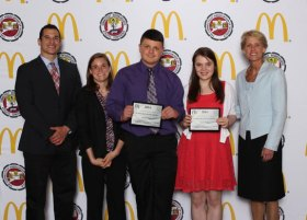 Long River Middle School students Kaylee Walsh and Joseph Kmetz (holding certificates) were honored June 8 as the state's top Scholar Leaders at the 2014 Connecticut Association of Schools (CAS) Scholar Leader Banquet in Southington. –CONTRIBUTED