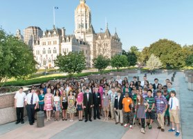 Sixth-graders Brandon McCusker and Dante Polletta of Prospect along with Naugatuck High School student Suzana Amaral were among the 200 recipients of the CHET 2014 Advance Scholarship recognized at an awards ceremony June 19. –CONTRIBUTED