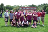 Special Olympics Naugatuck competed in the State Games on June 7 and 8 in Hamden. The athletes brought home a bronze medal for the team and individual gold and silver medals. Standing with the team are Terry Ford and Jim Sabio of the Naugatuck Elks, who recently donated uniforms to the team. –CONTRIBUTED