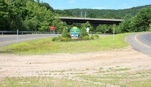 The Economic Development Commission is planning to spruce up this berm between the Route 8 exit and entrance ramps at Exit 24 in Beacon Falls. –LUKE MARSHALL