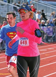 Tamath Rossi, deputy mayor of Naugatuck, runs in a half marathon in Cheshire in 2012. –CONTRIBUTED