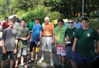 The Beacon Falls Parks and Recreation announced the winners of its second annual Cardboard Boat Regatta. Ten boats participated in the race July 12. Boy Scouts from Troop 104 Luke Fenwick of Beacon Falls and Travis Hopkins of Naugatuck won first place. Fellow Boy Scouts from Troop 104 Eric Wrogg of Beacon Falls and Seth Golembeski of Naugatuck won second place. The Beacon Hose Company No. 1 boat captained by Wally Leeper and Paul Brennan took third. Pictured, from left, Hopkins, Fenwick, Denver Hopkins (fourth place), First Selectman Chris Bielik, Wrogg, Golembeski and Jake Stow. -CONTRIBUTED