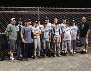 Sibby's won the Naugatuck Babe Ruth championship for the second straight season. Pictured, coach Gene Hensley, Nick Soucy, manager Dennis Sigetti, Nick Texeria, Tyler McGovern, Matt Polek, Tyler Suarez, Jordan Carreira, John McGovern, Zach Alves, Dawson Sigetti, Zach Mathieu, Spencer Hensley, and coach Sergio Carreira. –CONTRIBUTED