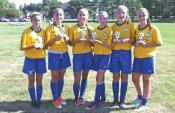 Prospect and Beacon Falls players, from left, Julia Accetura, Juliana Villano, Michealla Mastropietro, Nicole Sherman, Eliza Smith and Kerrigan Shaw played for the CT Brazil Team out of Woodbridge that won the U13 girls division of the T.W.I.S.T. soccer tournament in Wallingford Aug. 16-18. –CONTRIBUTED