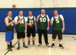 The Green Machine, from left, Mike Genua, Chris Mondack, Nick Clemente, Emmett O'Connor and Bez Martishi, won the Prospect men's basketball league this season. –CONTRIBUTED