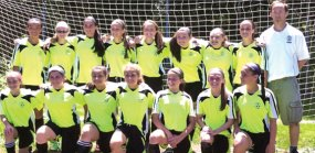 The Prospect U13 girls travel soccer team went undefeated this spring in league play in the South Central District. Pictured, front row from left, Morgan Ruggiero, Gabby Mignosa, Briana Iannicelli, Haley Wolfanger, Julia Accetura, Nicole Sherman and Juliana Villano. Back row from left, XiuXiu Sammis-McCoy, Bridgette Riffe, Julia Casimiro, Michealla Mastropietro, Eliza Smith, Mia Piccolo, Alanna Carasone, Kerrigan Shaw and coach Ryan Smith. Missing from the picture is Rebekah Wallace. –CONTRIBUTED