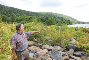 Toby's Pond Steward Richard Minnick points to the spillway at the Beacon Falls-owned pond where a lack of maintenance has led to the vegetation becoming overgrown. The town is dealing with a dwindling number of volunteers and a staff shortage in the street department. –LUKE MARSHALL
