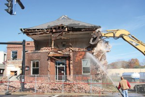 Demolition of Building 25, the former administrative offices for the U.S. Rubber Co. at 58 Maple St. in Naugatuck, started Nov. 3. The work was expected to be finished this week. –LUKE MARSHALL