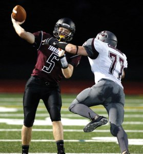 Naugatuck senior Paul Cavagnoulo (77) is one of nine senior Greyhounds that are looking to leave their mark on the storied Naugatuck-Ansonia football rivalry. –RA ARCHIVE