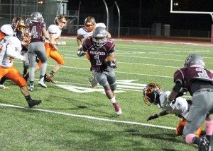 Naugatuck senior Antoine Sistrunk has been a steady force for the Greyhounds with 16 total touchdowns so far this season. –ELIO GUGLIOTTI
