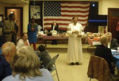 Naugatuck United Methodist Church Pastor Peola Hicks addresses veterans during the church's Veterans' Appreciation Service and pot luck meal Nov. 15 at the church. –CONTRIBUTED