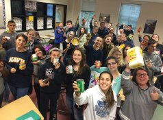 The Woodland Regional High School World Languages Honor Society donated 15 Thanksgiving baskets and over $200 worth of gift certificates to be used towards the purchase of turkeys to St. Anthony's Church in Prospect. The society put the baskets together and bought the gift certificates using donations from the Woodland community. -CONTRIBUTED