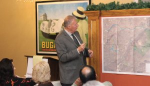 Naugatuck Mayor N. Warren 'Pete' Hess discusses expanding trails in the Naugatuck State Forest Dec. 11 at the Naugatuck Chamber of Commerce's annual Mayoral Breakfast at Jesse Camille's Restaurant. –ELIO GUGLIOTTI