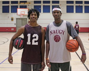 Naugatuck High seniors and boys basketball captains James Mesidor, left, and Fejiro Onakpoma will lead the Greyhounds on the court this season. -ELIO GUGLIOTTI