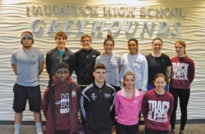 Naugatuck seniors, front row from left, Kevin Okifo, Michael Campos, Melissa Goja, Elizabeth Trumbley; back row from left, William Chockey, Mark Zamani, Mike Zamani, Ariana Alvarado, Lexie Paul, Brittany Burkman and Courtney Morin will lead the indoor track team. –KEN MORSE