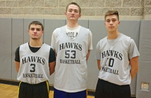 Woodland boys basketball captains, from left, Tyler Collodel, Eric Buetel and Jon Scirpo will lead the Hawks on the court this season. -ANDREW SHURRETTO