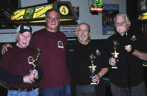The Connecticut Senior Billiards League annual Individual Billiards tournament was held Dec. 2 at Shooters in Southington. The league consists of the Bristol, Prospect, Plainville, Cromwell, and Glastonbury senior centers' teams. Winners of the tournament are, from left, Larry Gendler, first place from the Bristol Prime Eights; Rich Berardy, fourth place from the Bristol Prime Eights; Carmen Midolo, second place of the Prospect Senior Center; and Dick Cipriani, third place of the Prospect Senior Center. -CONTRIBUTED