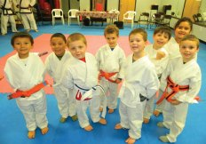 From left, Jayden Dechane, Roberto Arriaga Jr., Dylan Gaillard, Donovan Perez, Adam Kullberg, Ryan Lanteri, Naysa Dechane and Tyler Gangloff were promoted during a Kid Kicks (ages 5 and 6) grading at USA Martial Arts in Naugatuck in December. –CONTRIBUTED