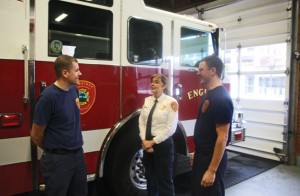 Naugatuck interim Fire Chief Ellen Murray, center, talks with firefighters Ethan Gagnon, left, and Kevin Gorman in December at fire headquarters on Maple Street. The borough has made Murray a conditional offer to become the next chief of the Naugatuck Fire Department. –FILE PHOTO