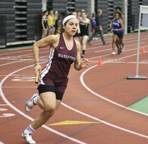 Naugatuck's Ariana Alvarado runs in the 4x200 during the NVL indoor track championship Monday at the Floyd Little Athletic Center in New Haven. –LUKE MARSHALL