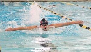 Naugatuck's Nicholas Ryan competes in the 100 butterfly versus Woodland Jan. 20 in Beacon Falls. Naugatuck won the meet, 92-83. –ELIO GUGLIOTTI