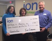 Ion Insurance Corp. recently presented Acts 4 Ministry, Inc. with a check for $755, which was raised from their Quotes for a Cause program. Pictured, from left, Acts 4 Ministry Executive Director Sarah DiMeo-Carabetta, Acts 4 Ministry Board Chairwoman Ellen Rogers and President and CEO of Ion Insurance David Drescher. –CONTRIBUTED