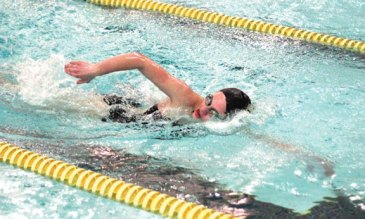 Woodland's Julie Hinckley competes in the 200 freestyle versus Holy Cross Feb. 9 in Beacon Falls. –ELIO GUGLIOTTI