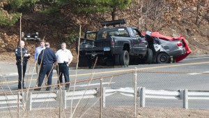 Police and emergency personnel on the scene of a fatal car crash on Prospect Road (Route 69) at Terry Road in Waterbury near the Prospect town line on Thursday afternoon. Brian Cavanaugh, of Prospect, was killed in the accident. –REPUBLICAN-AMERICAN