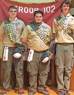 Boy Troop 102 in Naugatuck recently honored three new Eagle Scouts, from left, Justin Wagner, Nick Hanks and Russell Andrew at an Eagle Scout Court of Honor. –CONTRIBUTED