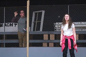 Alex Tenbrink, left, and Kayla Kusy rehearse a scene from the Naugatuck Teen Theater's upcoming production of 'I Never Saw Another Butterfly.' The play opens on April 8. –CONTRIBUTED