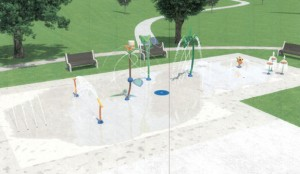 A rendering of what a proposed splash pad in Naugatuck could look like. Officials are considering constructing a splash pad where the Hop Brook Pool was located on Crown Street. –CONTRIBUTED